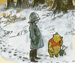 pooh bear in the snow