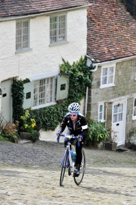 Me, suffering up Gold Hill, courtesy of official photographer Bruce Chappell