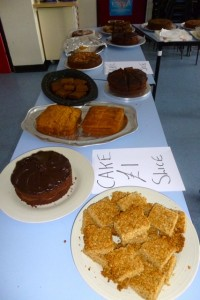 first table of cakes