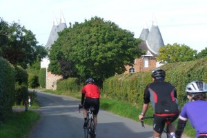 oast house and riders