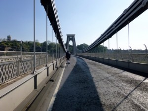 over the suspension bridge