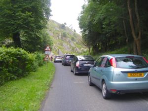cars queuing for the Combe